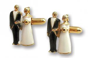 wedding black and white cuff links gold