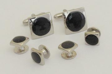 FS1000 cuff links onyx and chrome