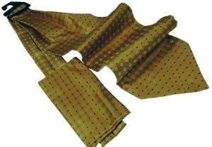Effeti ascot with pocket square gold and black dots