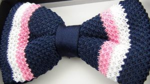 Effeti silk knit blue pink white bow tie top view