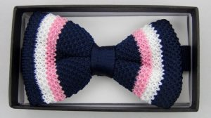Effeti silk knit blue pink white bow tie top view