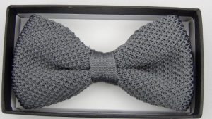 Effeti silk knit gray bow tie top view