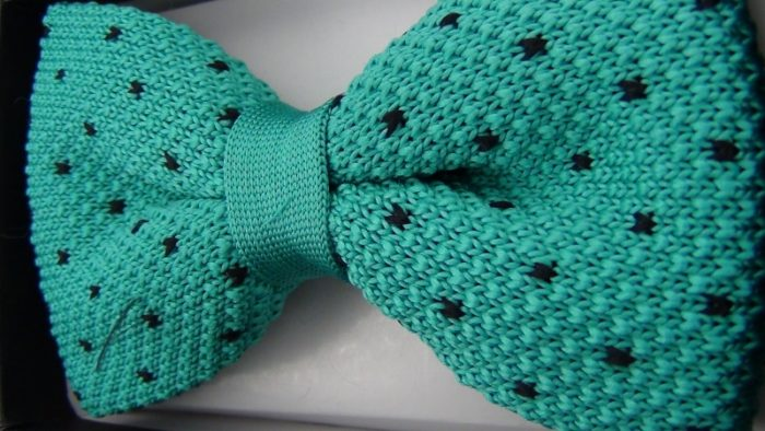 Effeti Teal black dots bow tie top view