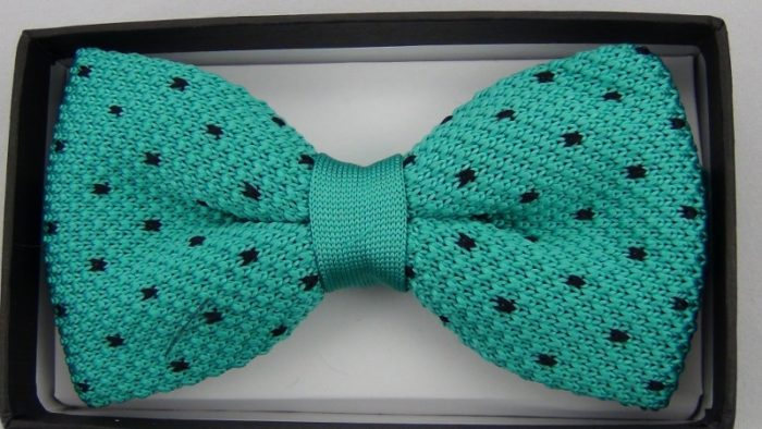 Effeti Teal black dots bow-tie top view