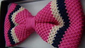 Effeti pink white black bow tie