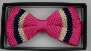 Effeti pink white black bow tie top view