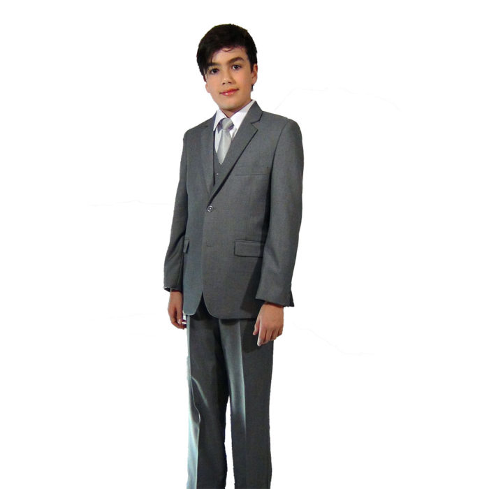 Giovanni Testi kids 5 piece suits gray suit set full front image