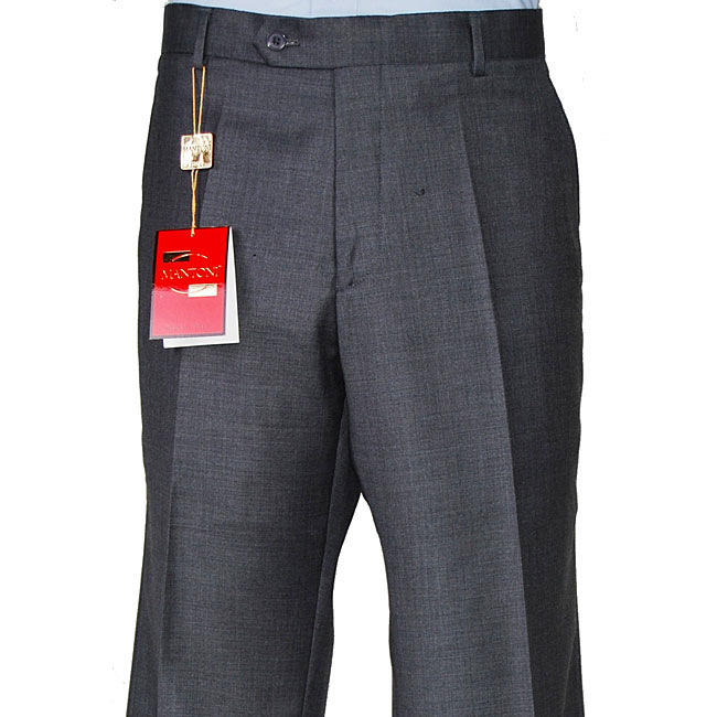 Mantoni Charcoal Super Wool Flat-front Trousers In CA