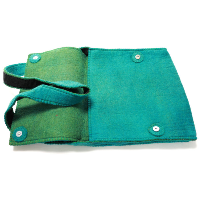 Teal Himalaya cashmere hand bag for iPad