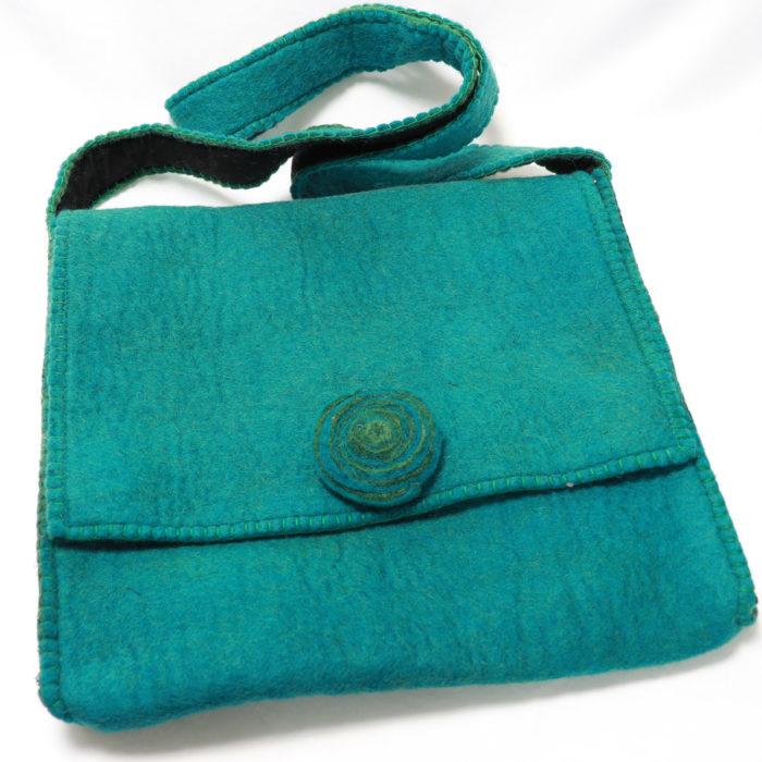 Teal Himalaya cashmere hand bag for iPad