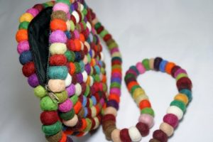 cotton ball hand bag handcrafted