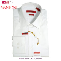 Mantoni White Herringbone Stripes Dress Shirt