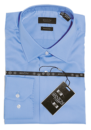 Mantoni wrinkle free dress shirts modern cut blue