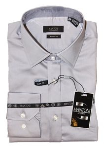Mantoni wrinkle free dress shirts slim fit white
