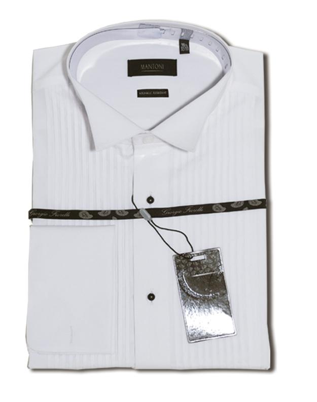 Giorgio Fiorelli white Lay-down wrinkle free tuxedo Shirt