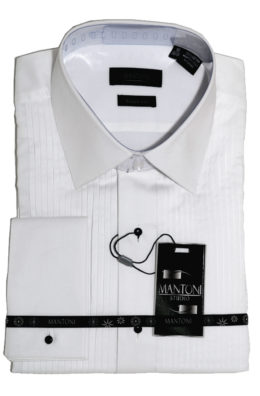 Mantoni cotton wrinkle free dress shirts white