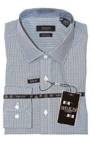 Mantoni cotton wrinkle free dress shirts blue