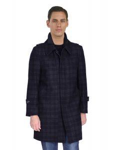 Mantoni car coat windowpane charcoal jacket