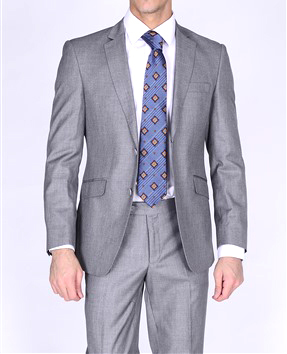 Bertolini gray business suit two button Moda Italy blend
