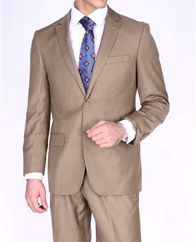 Bertolini brown business suit two button Moda Italy blend