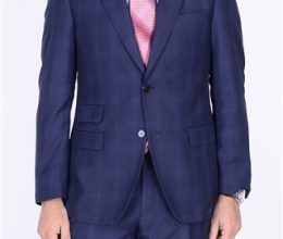 Bertolini blue suit two button Moda Italy blend