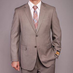 Mantoni two button taupe suite Moda Italy wool