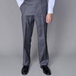 Mantoni gray slacks business pants flat front Moda Italy wool