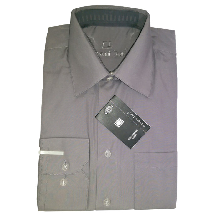 Giovanni Testi shirt gray convertible to cuff links