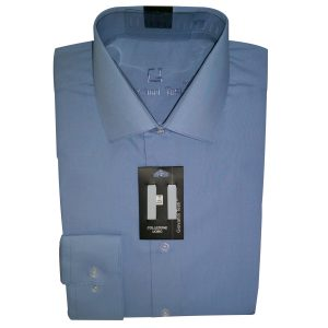 Giovanni Testi shirt blue convertible to cuff links