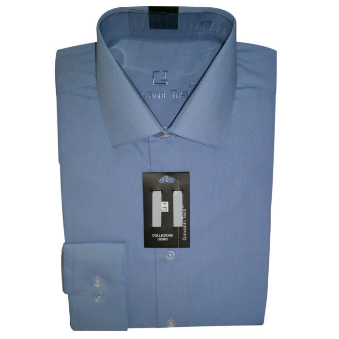 Giovanni Testi shirt blue convertible to cuff links