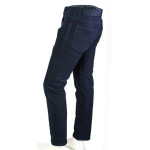 Enzo denim jeans blue velvet square patterned side full view