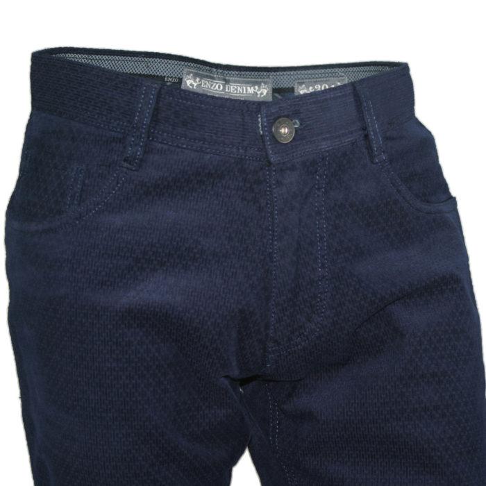 Enzo denim jeans blue velvet square patterned