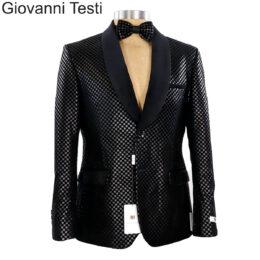 Black Checkered Sports Jacket by Giovanni Testi