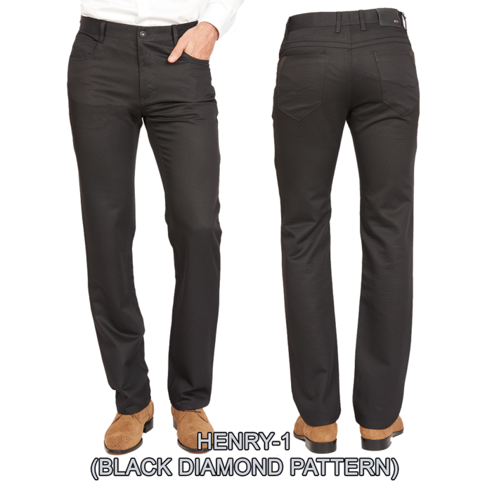 Enzo denim jeans black diamond pattern henry 1