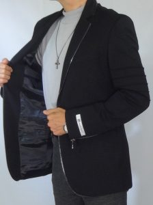 GT black sport jacket with zippers