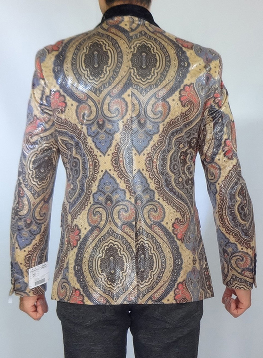 Giovanni Testi snake skin print jacket back view high fashion blazer
