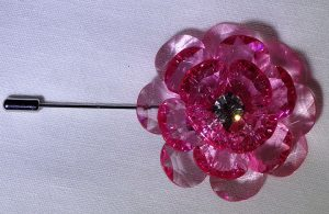 Lapel Crystal flower pin pink top view