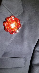 Lapel Crystal flower pin pink