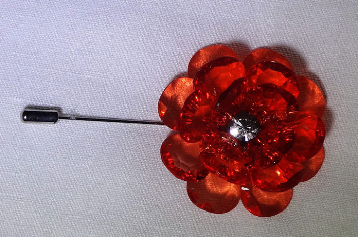 Lapel Crystal flower pin red top