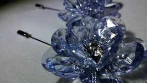 Lapel Crystal flower pin blue top view