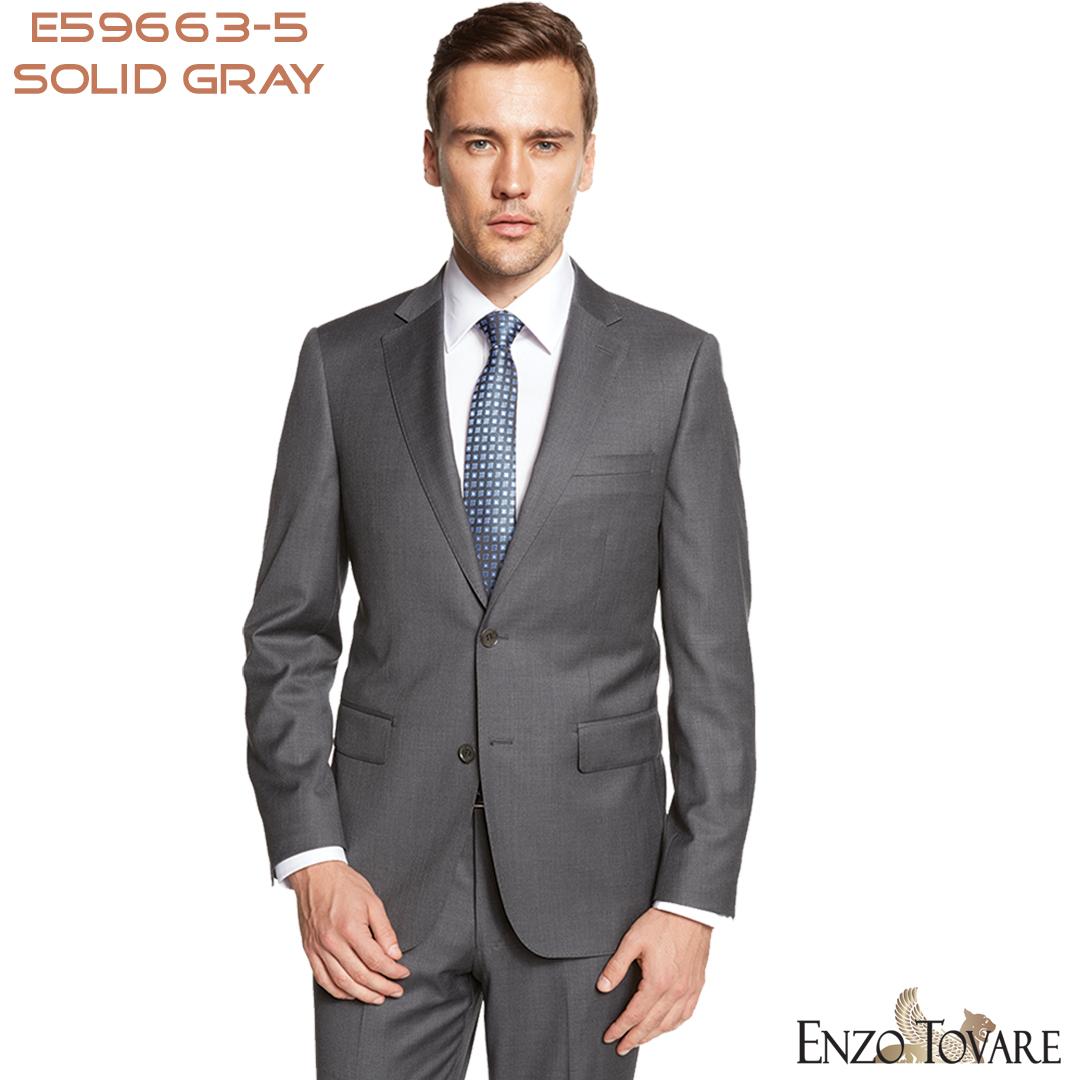 Mantoni  2-Button Solid Suit 100/% Wool super 150s premium suits Notch Lapel