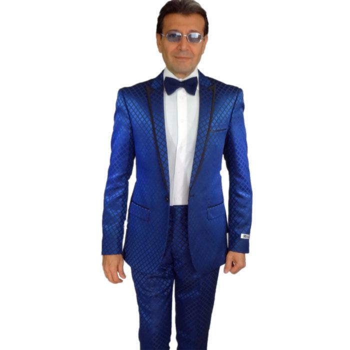 blue tuxedo or suit