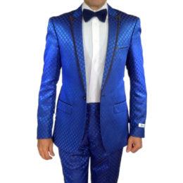 GT blue slim fit suit square pattern front bow tie