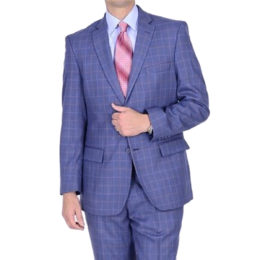 Mantoni slim fit suit Moda Italy wool blue window-pane