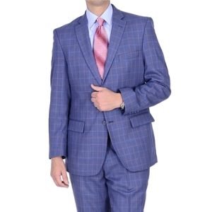 Mantoni slim fit suit Moda Italy wool blue window-pane