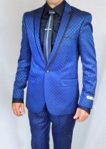 GT blue slim fit suit square pattern tie