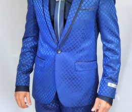 GT blue slim fit suit square pattern tie