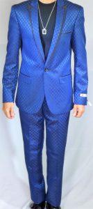 GT blue slim fit suit square pattern