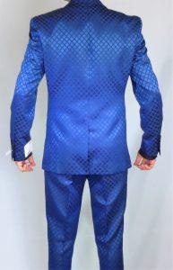 GT blue slim fit suit square pattern back