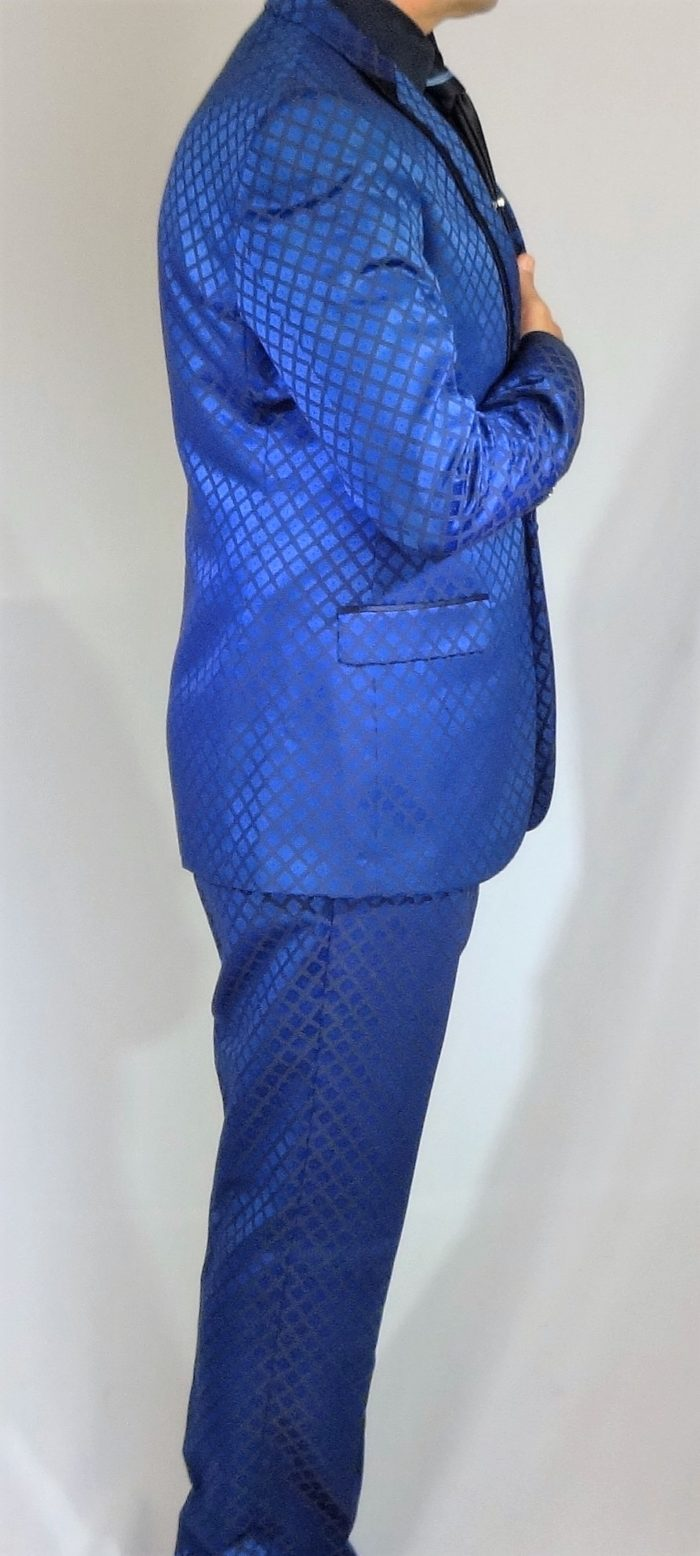 GT blue slim fit suit square pattern side view